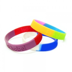 Rainbow Personality Silicone Wristband with Custom Logo & Pa