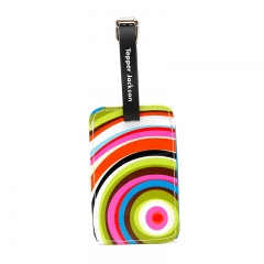 Rainbow Like Luggage Tags with Leather Loop and Metal Hook