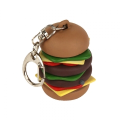 High Quality Customized Hamburger Stress Ball with Keyring
