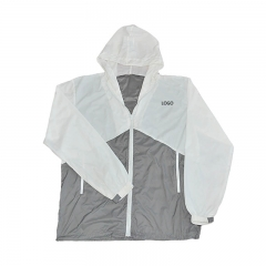 Custom colors jacket , white and gray polyester windbreaker jacket